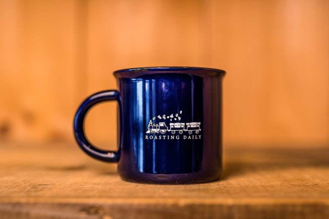dark blue mug